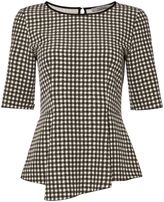 Marella Clarion 3/4 sleeve check print woven top