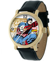 Marvel Vintage Captain America Mens Black Leather Strap Watch