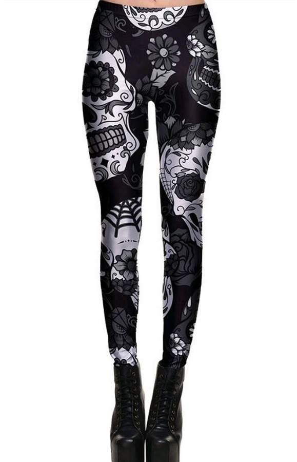 c2dc522a706b Honghu Women Skull Print Fitness Slim Leggings Trousers High Waist Jogger  Elastic Skinny Pants S
