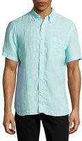 Black Brown 1826 End-On-End Short Sleeve Linen Shirt