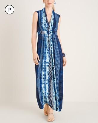 Chico's Petite Geometric Tie-Dye Print Maxi Dress