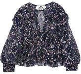Isabel Marant Muster Floral-print Fil Coupé Silk-blend Georgette Blouse - Midnight blue
