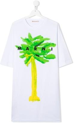 Marni TEEN palm-print cotton T-shirt dress