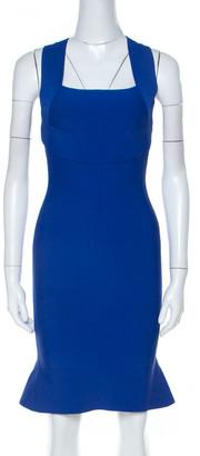 Roland Mouret Cobalt Blue Stretch Knit Sleeveless Bodycon Dress S