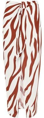 Charli Knotted Zebra-print Crepe De Chine Maxi Skirt