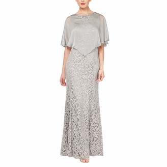 Ignite Evenings Women's Sequin Lace Beaded Cape Gown Dress