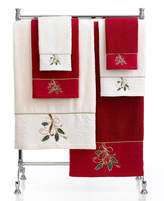 """Lenox Closeout! Bath Towels, Ribbon and Holly 11"""" x 18"""" Fingertip Towel Bedding"""