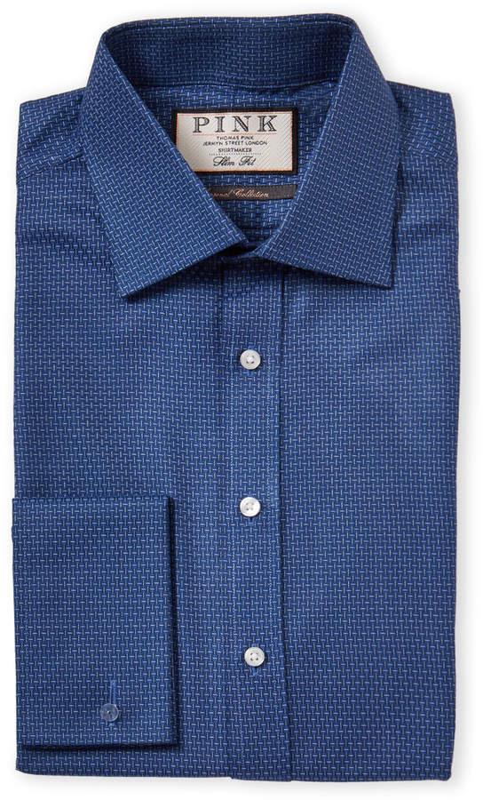 Thomas Pink Slim Fit Textured Pattern French Cuff Dress Shirt