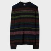 Paul Smith Men's Black Multi-Colour Stripe Merino-Alpaca Reversible Sweater