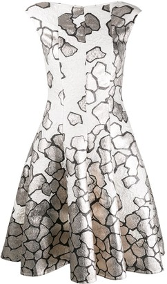 Talbot Runhof Jacquard Fit And Flare Dress