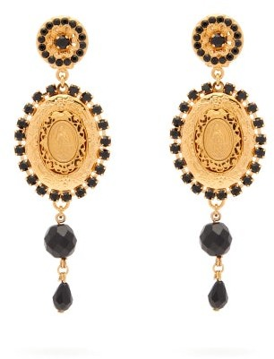 Dolce & Gabbana Cameo Crystal And Bead Drop Clip Earrings - Womens - Gold