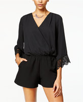 Amy Byer Juniors' Crochet-Trim Bell-Sleeve Romper