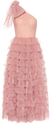 RED Valentino Embellished one-shoulder tulle gown