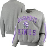 G Iii Women's G-III 4Her by Carl Banks Gray Sacramento Kings Slouchy Rookie French Terry Pullover Sweatshirt