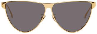 Bottega Veneta Gold and Grey Aviator Sunglasses