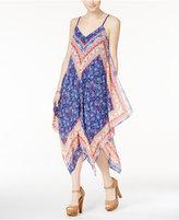 Sequin Hearts Juniors' Printed Handkerchief-Hem Midi Dress