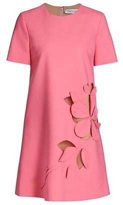 Oscar de la Renta Floral Cutout Shift Dress