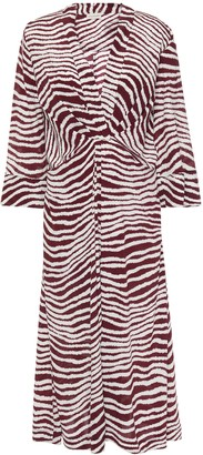 By Malene Birger Wrap-effect Zebra-print Crepe De Chine Midi Dress