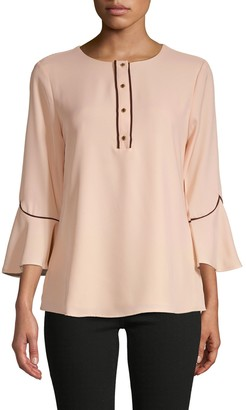 Calvin Klein Piped Flare-Sleeve Blouse