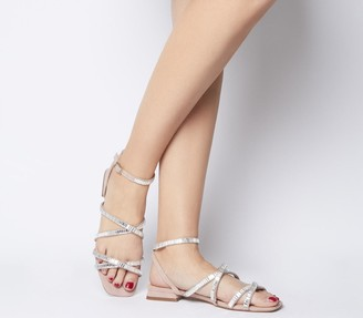 Office Skyfall Embellished Ankle Strap Sandals Nude Embellished