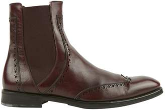 Salvatore Ferragamo Burgundy Leather Boots