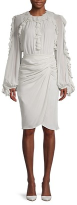 Giambattista Valli Frill Long-Sleeve Silk Dress
