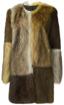 Vera Wang colour block fur coat