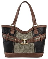 Bolo Women's Faux Leather Tote Handbag with Front/Back/Interior Compartments with Top Zipper Closure - Black/Charcoal/Walnut