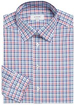 Eton Contemporary-Fit Plaid Cotton Poplin Dress Shirt