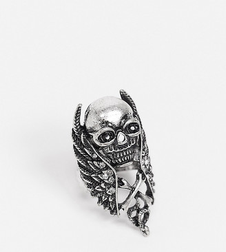 Reclaimed Vintage inspired skull wing ring in silver