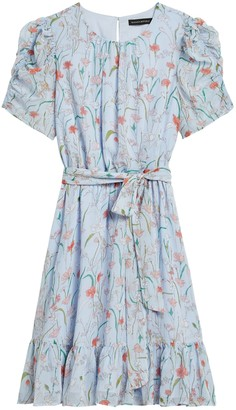 Banana Republic Petite Floral Puff-Sleeve Dress