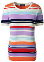 Lands' End Women's Short Sleeve Supima Stripe Sweater-Frosted Lavender Multi Stripe