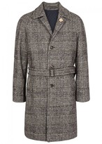Lardini Brown Checked Cotton Blend Coat