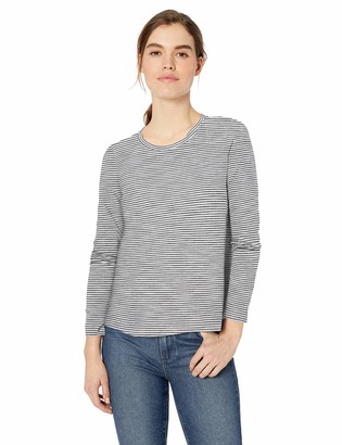 Daily Ritual Lightweight Lived-in Cotton Long-sleeve Swing T-shirt Black/White Mini Stripe US L (EU L - XL)