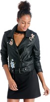 Sole Society Faux Leather Embroidered Rider Jacket
