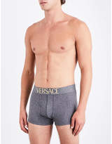 Versace Mens Grey Everyday Essentials Iconic Apollo Slim-Fit Stretch-Cotton Trunks