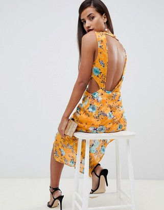 Asos Design DESIGN midi dress in floral print jacquard with open back-Multi