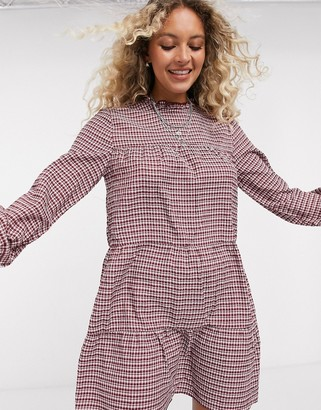 Only ruffle neck mini dress in check print