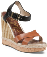 Criss Cross Band Leather Wedge Sandals