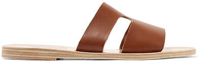 Ancient Greek Sandals Apteros Cutout Leather Slides - Brown