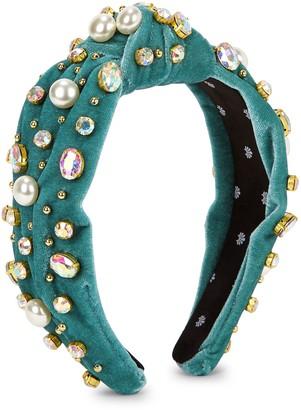 Lele Sadoughi Teal embellished velvet headband