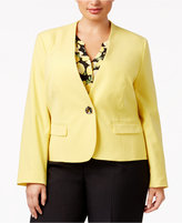 Nine West Plus Size Single-Button Hardware Blazer