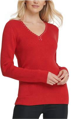 DKNY Metallic-Threaded Embellished Sweater