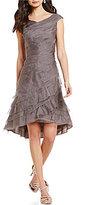Kay Unger Ruffled Tiered Organza Asymmetrical Hem Dress