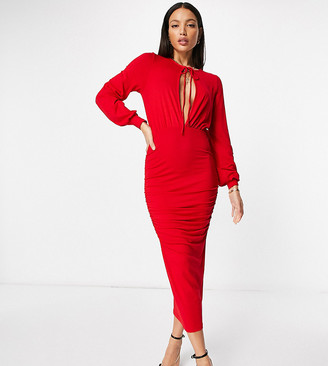Asos Tall ASOS DESIGN Tall blouson tie long sleeve midi dress with side ruching in red