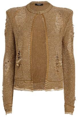 Balmain Distressed Sequin Jacket