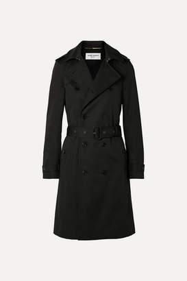Saint Laurent Woven Trench Coat - Black