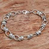 Hand Made Sterling Silver Link Bracelet Indonesia, 'Family Ties'