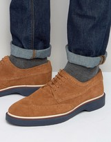 Asos Brogue Shoes In Tan Suede With Wedge Sole