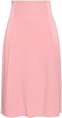 Victoria Beckham Pleated Satin-crepe Skirt